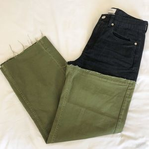 Color block olive green + black Zara jeans